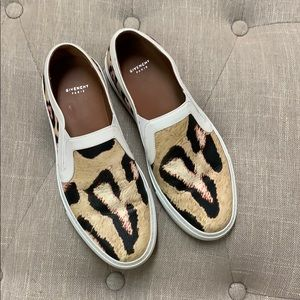 Givenchy Leopard Print Leather Slip On Sneakers 37